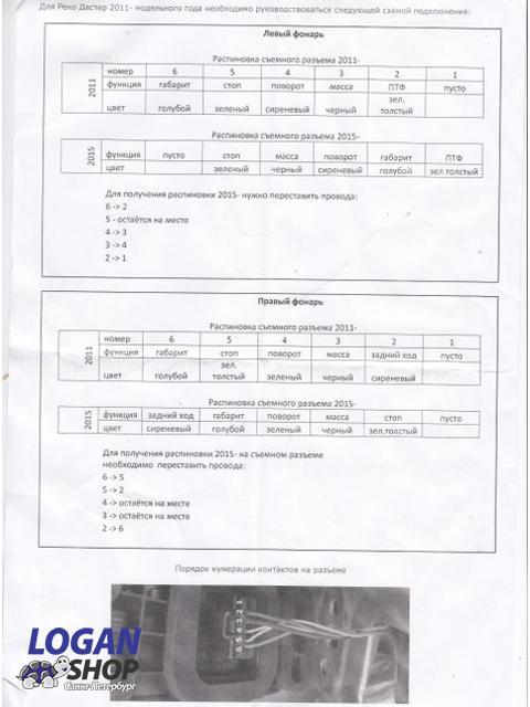 инструкция по распиновке разъемов фонарей Рено Дастер для установки фонарей от Дастер 2